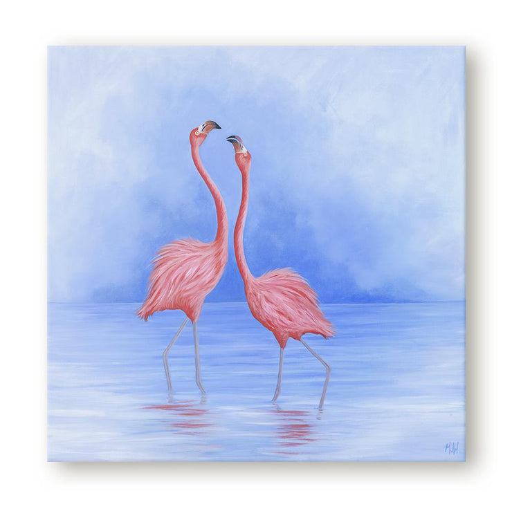Flamingo Painting Friend Flamingo Dance Canvas on Wall