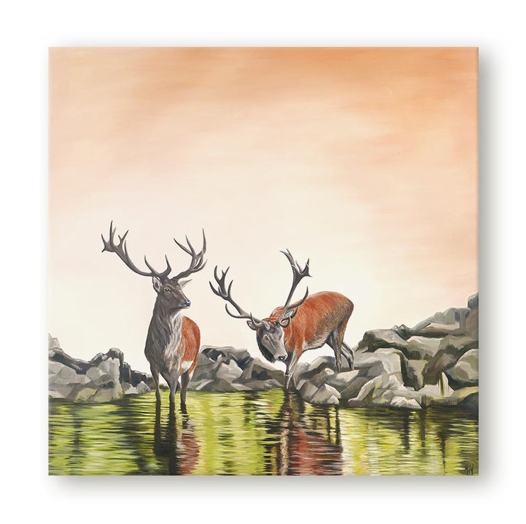 Deer Painting Friend or Foe Canvas on Wall