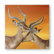 Impala Painting Intertwined Canvas on Wall