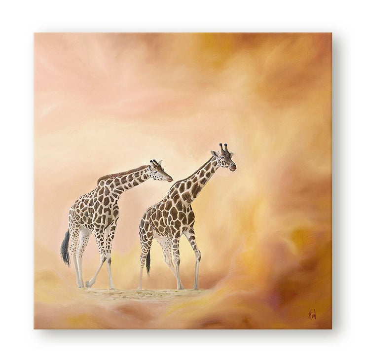 Giraffe Painting Morning Walk Canvas on Wall