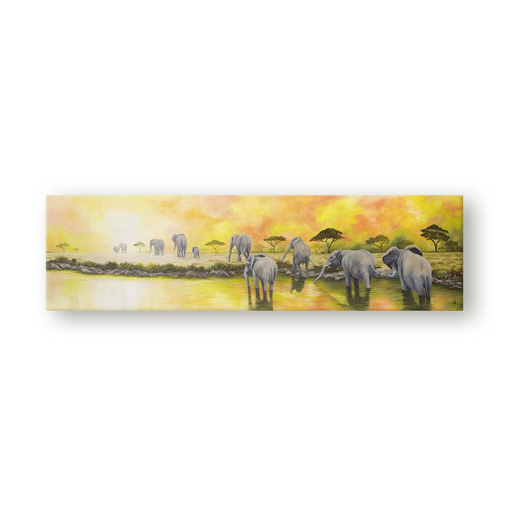 Elephant Painting Ohana Canvas on Wall