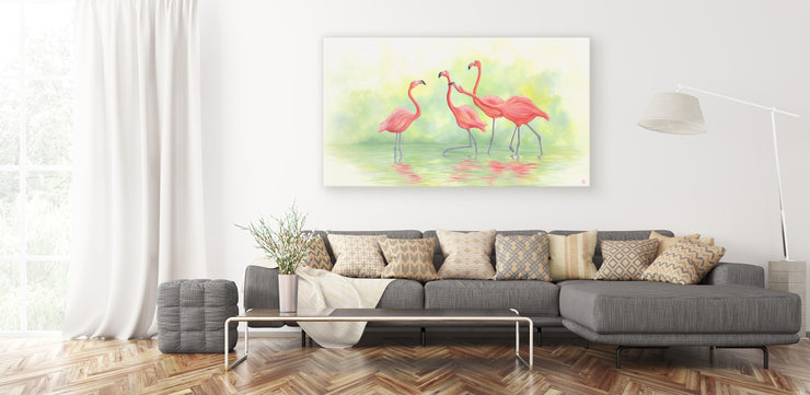 Pink Flamingos II Original Oil Painting