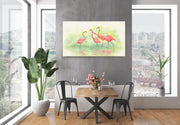 Flamingo Painting Pink Flamingos II Canvas on Wall Above table