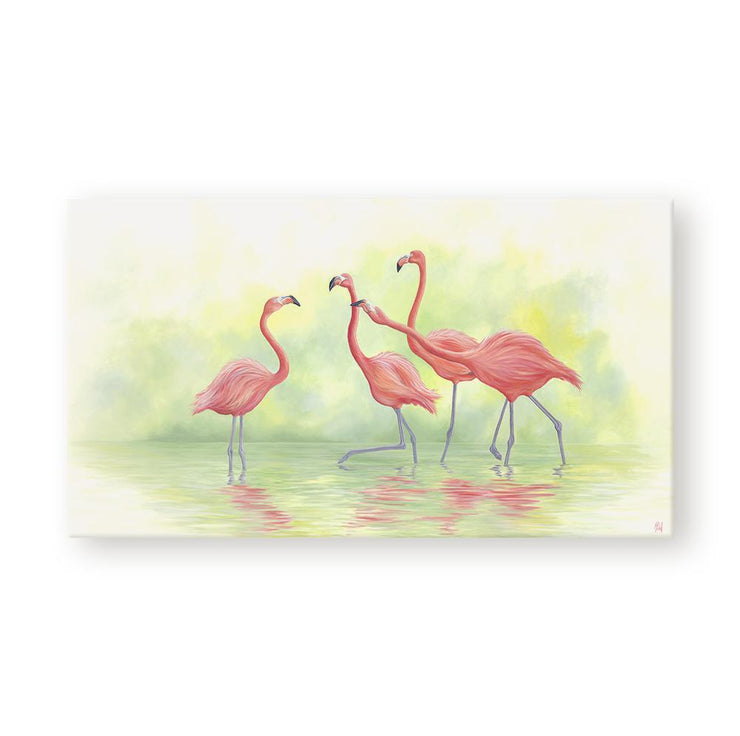 Flamingo Painting Pink Flamingos II Canvas on Wall