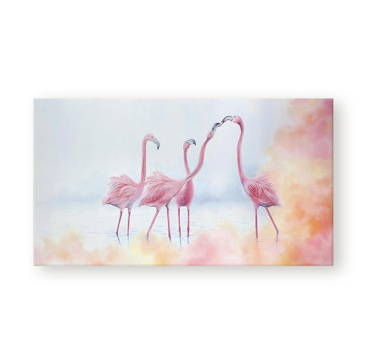 Flamingo Painting Pink Flamingos Canvas on Wall