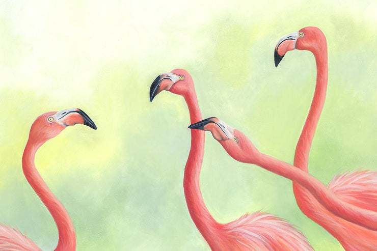 Flamingo Painting Pink Flamingos II Close Up