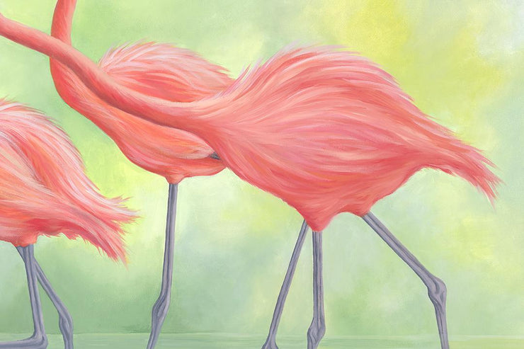 Flamingo Painting Pink Flamingos II Close Up II