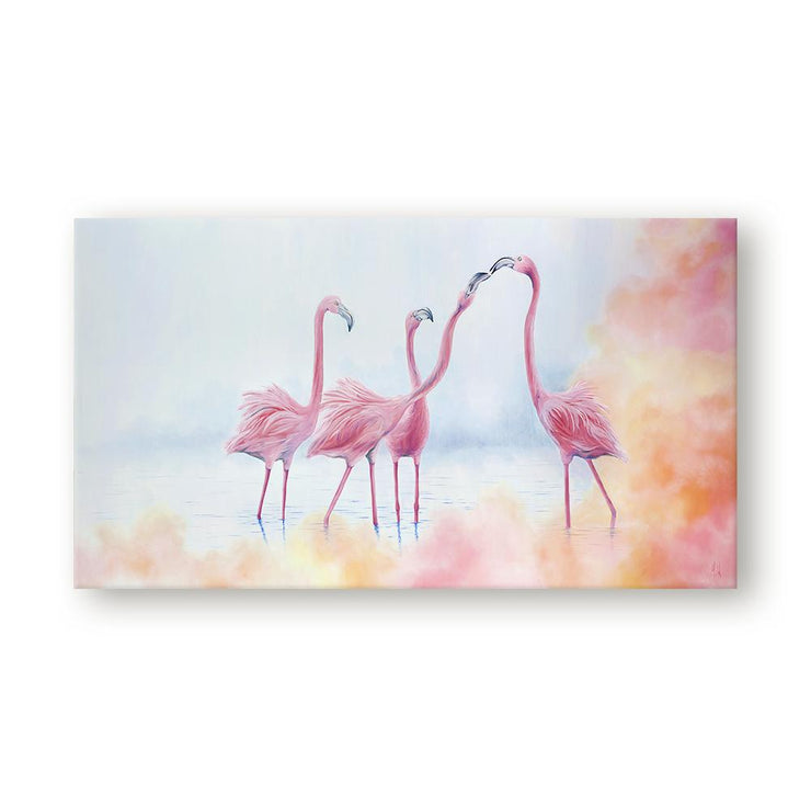 Flamingo Painting Pink Flamingos Canvas Print on Wall