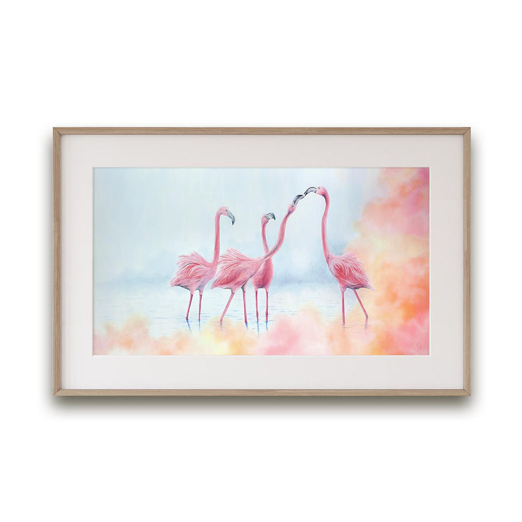 Flamingo Painting Pink Flamingos Framed Rag Paper Print