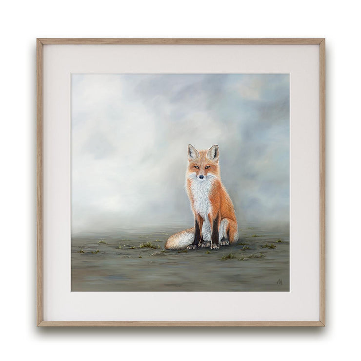 Fox Painting The Waiting Game Framed Rag Paper Print