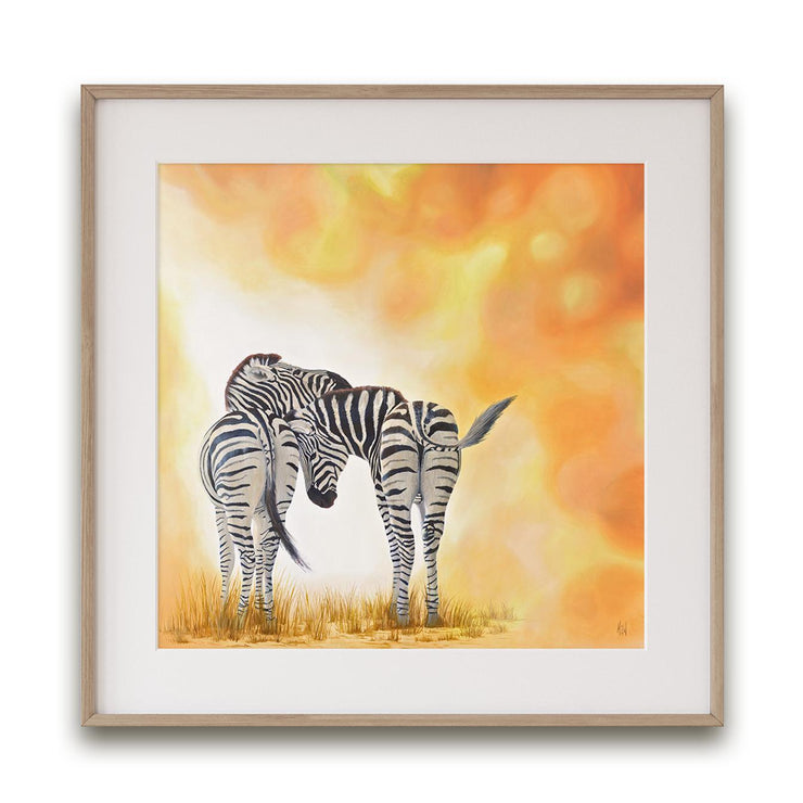 Zebra Painting Two of a Kind Framed Rag Print