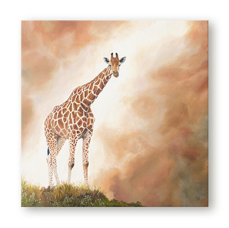 Giraffe Painting Standing Tall Canvas Print on Wall