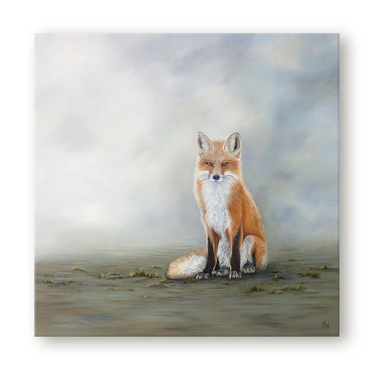 Fox Painting The Waiting Game Canvas Print on Wall