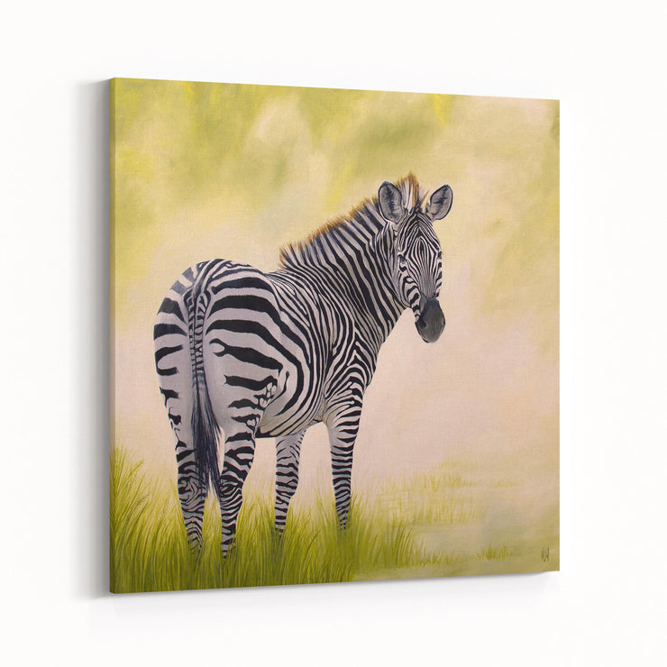 Zebra Painting African Beauty Canvas on Wall Angled