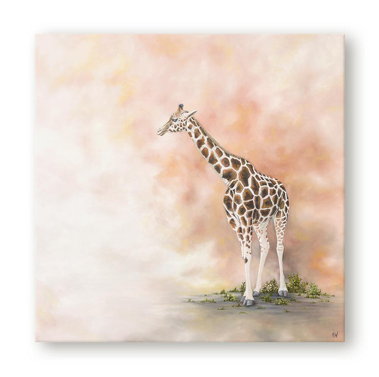 Giraffe Painting Alone in the Dust Canvas on Wall