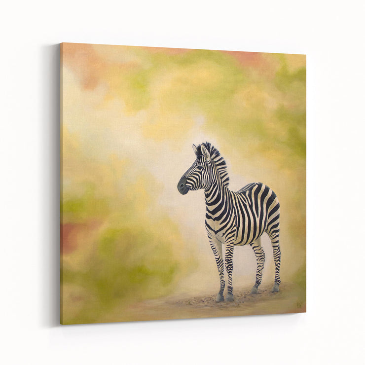 Zebra Painting At Dusk Canvas on Wall Angled