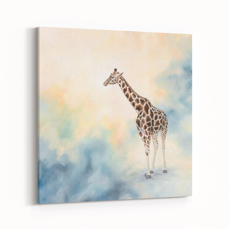Giraffe Painting Blue Haze Canvas Print on Wall Angled