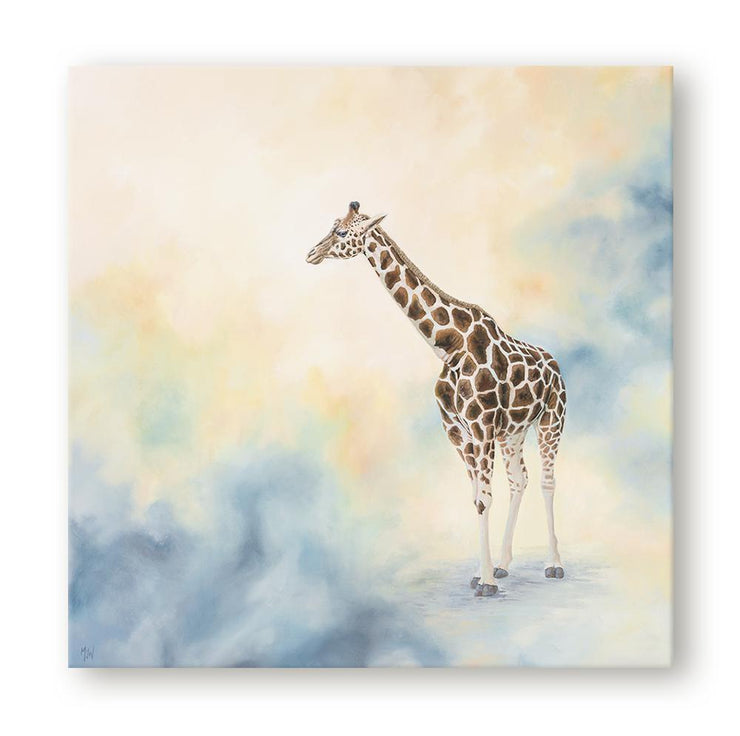 Giraffe Painting Blue Haze Canvas Print on Wall