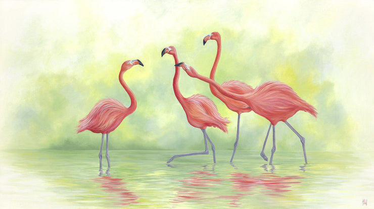 Flamingo Painting Pink Flamingos II Image