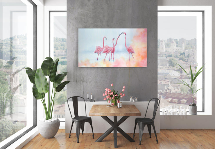 Flamingo Painting Pink Flamingos Canvas on Wall above table