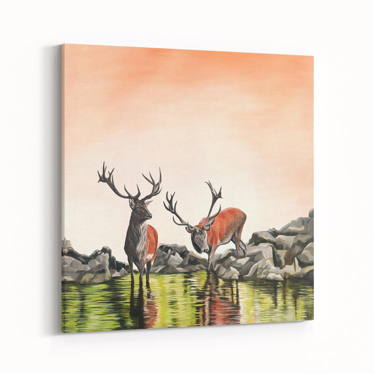 Deer Painting Friend or Foe Canvas on Wall Angled