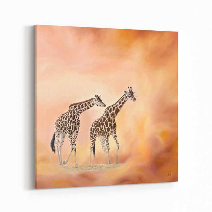 Giraffe Painting Morning Walk Canvas on Wall Angled
