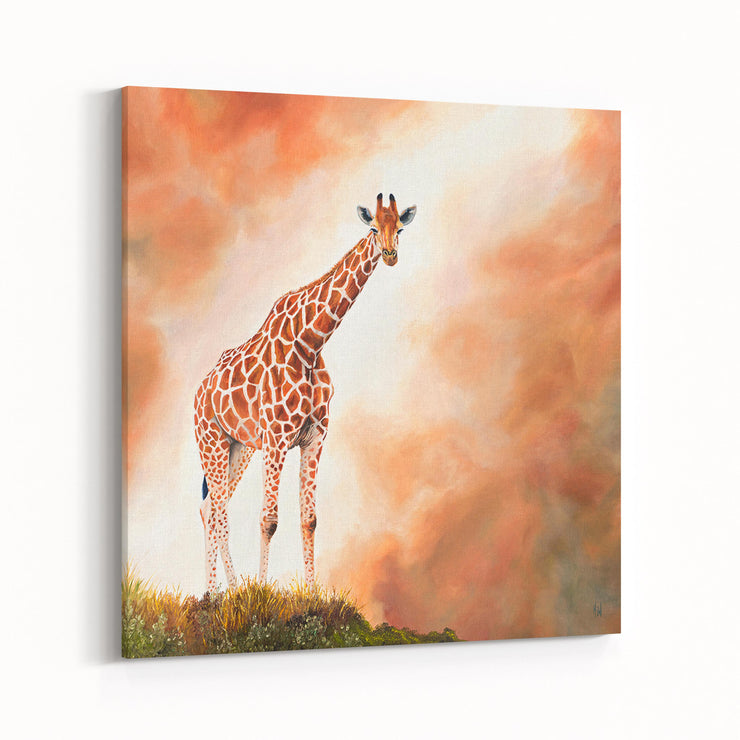 Giraffe Painting Standing Tall Canvas Print on Wall Angled