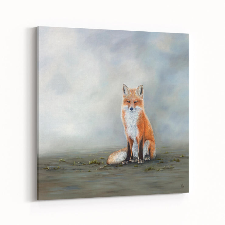 Fox Painting The Waiting Game Canvas Print on Wall Angled