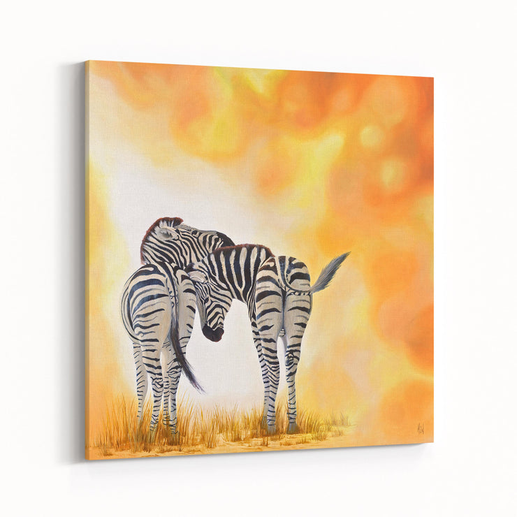 Zebra Painting Two of a Kind Canvas on Wall Angled