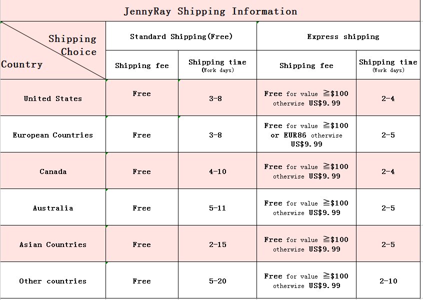 JennyRay SHIPPING POLICY