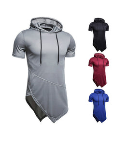 men's casual hooded turtleneck t-shirt