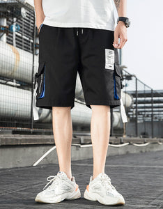multi-pocket five - minute pants with ribbon men's shorts