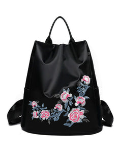 embroidery flower high capacity nylon backpack bag