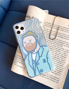 funny Van Gogh portrait transparent soft phone case