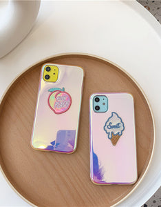 laser peach/ice cream embroidered soft phone case