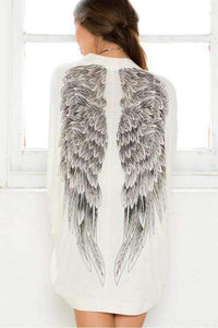 Wings Printed Ivory Loose Batwing Sleeved Cardigan