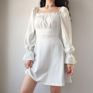 vintage u neck back lace-up slim dress