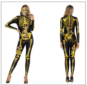 halloween 3D skeleton / clown costume slim jumpsuit