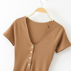 retro front buttons short sleeved slim bodysuit top