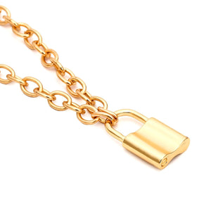 punk chain with lock necklace gothic cool padlock pendant necklace