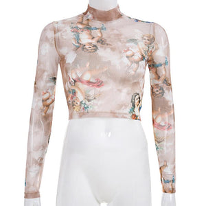 love angels printed mock neck sheer mesh top