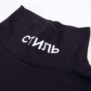 black mock neck letters embroidered bodysuit