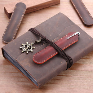 handmade leather pen protective casing