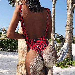 leopard print backless one-piece swimsuit