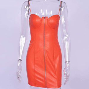 PU leather strappy front zipper bodycon dress
