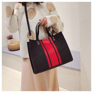 wide stripe canvas briefcase tote bag