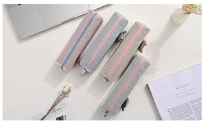 simple large capacity canvas pencil case