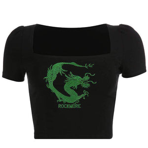 U neck dragon embroidery slim top