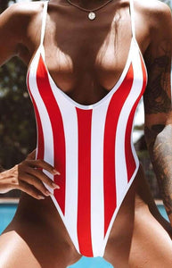 red&white vertical stripes one-piece swimsuit