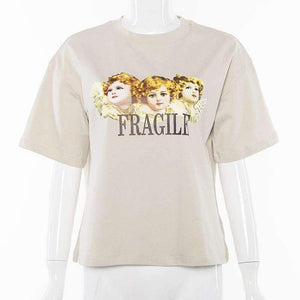 cartoon pattern printed oversize t-shirt